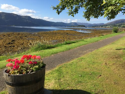 the sunshine along the Lochcarron shore - the view from Castle Cottage